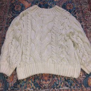 Cream chenille knit sweater